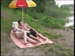 Russian mature Mom and her boy on the..