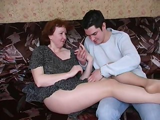 Russian mature mom in pantyhose and her..