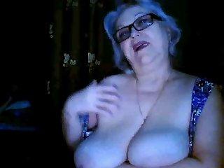 Russian granny ex-teacher flashing her..